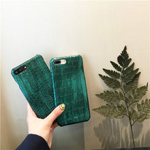Load image into Gallery viewer, Green Sequins Crocodile Case for iPhone Xs Max Xr Xs X 7 8 Plus Case Leather Cover for iPhone 6S Plus iPhone Case for iPhone 7,Green 1,for iPhone Xs Max