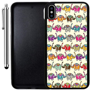 Custom Case Compatible with iPhone Xs MAX (6.5 inch) (Cute Baby Elephants Pattern) Edge-to-Edge Rubber Black Cover Ultra Slim | Lightweight | Includes Stylus Pen by Innosub