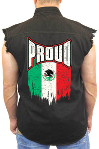 Men's Sleeveless Denim Shirt Proud Mexican Flag
