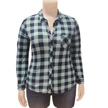 Load image into Gallery viewer, Plus Cupro Buffalo Plaid Blouse