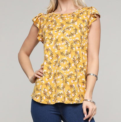 Plus Round Neck Ruffled Blouse