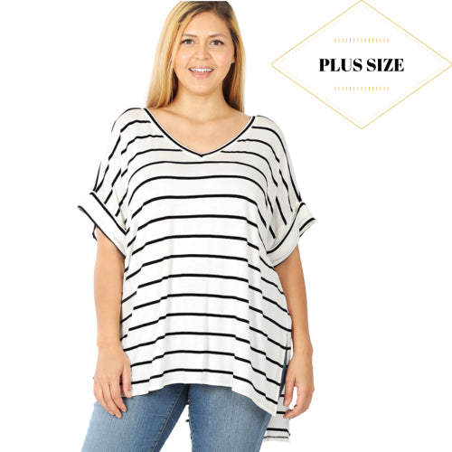 Plus Power Play Striped Blouse