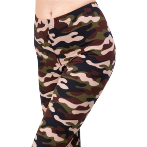 Brown Camouflage Printed Leggings