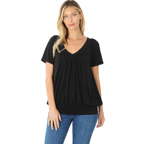 V-Neck Short Sleeve Shirring Top