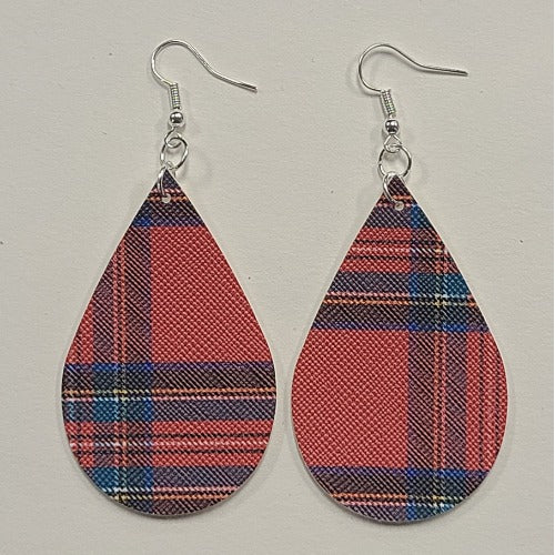 Plaid Faux Leather Earrings