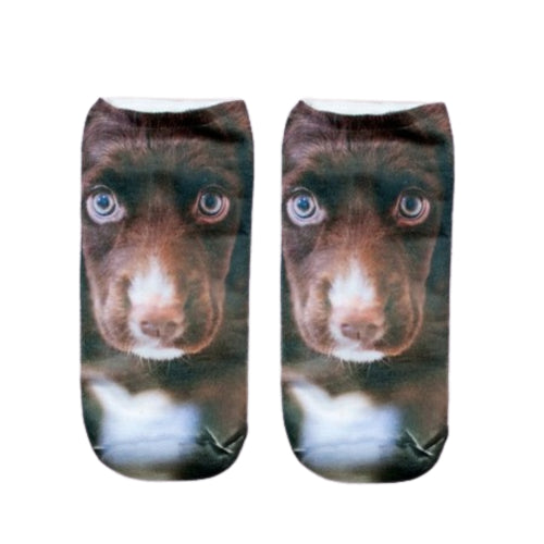 Brown Puppy Print Ankle Socks