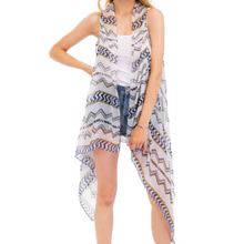 Load image into Gallery viewer, Asymmetrical Aztec Vest Kimono