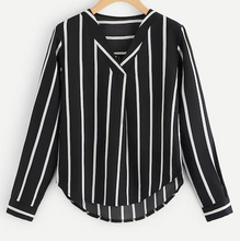 Load image into Gallery viewer, V-Neck Long Sleeve Striped Blouse