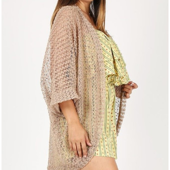 Plus Sheer Knit Long Body Cardigan
