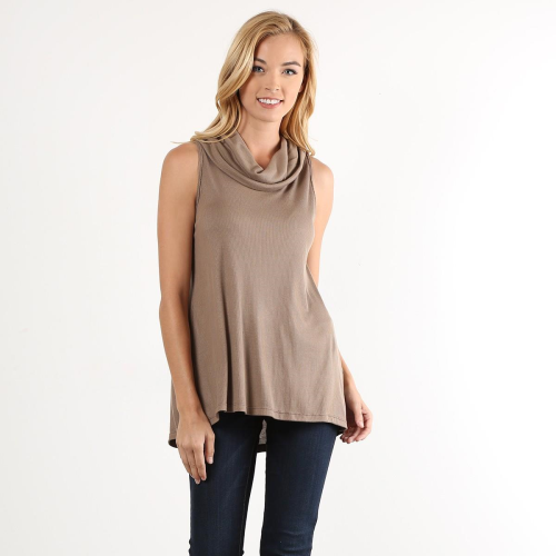 Sleeveless Cowl Neck Knit Top