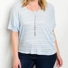 Load image into Gallery viewer, Plus Scoop Neck Striped Slub Knit Top