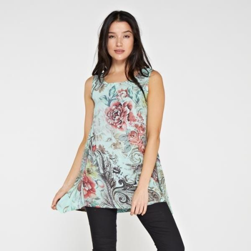 Sleeveless Floral Print Blouse