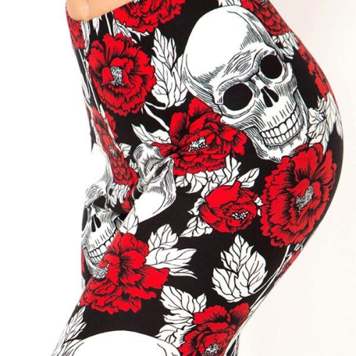 Floral Skull Printed Leggings