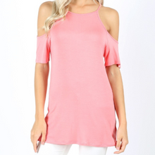 Load image into Gallery viewer, High Neck Cold Shoulder Top