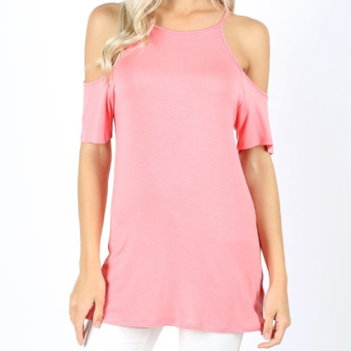 High Neck Cold Shoulder Top
