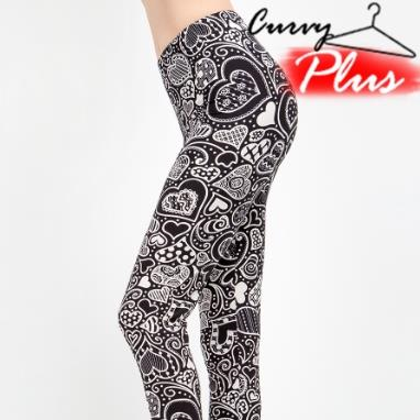 Plus Multi-Heart Printed Leggings