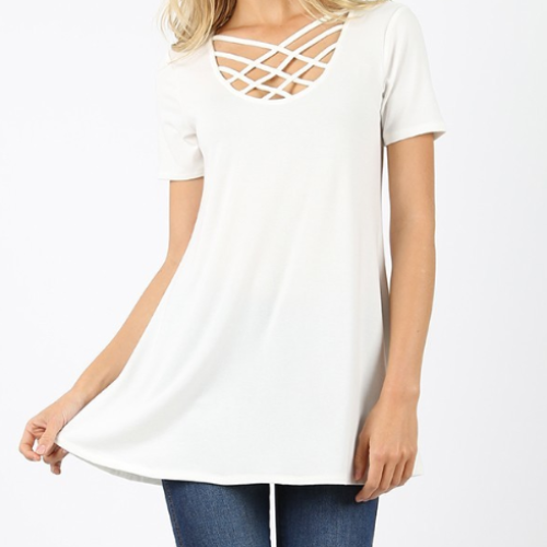 Short Sleeve Lattice Top
