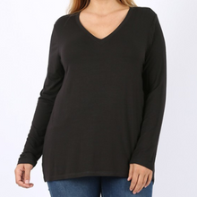 Load image into Gallery viewer, Plus Cotton V-Neck Long Sleeve