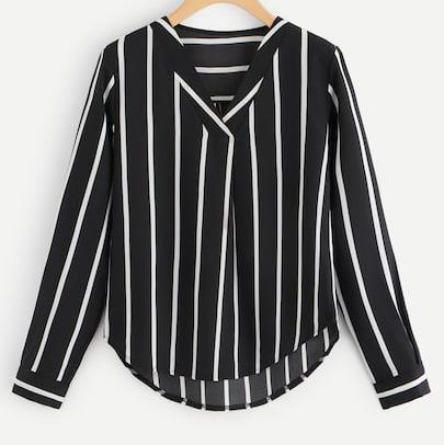V-Neck Long Sleeve Striped Blouse