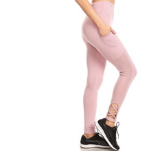 Load image into Gallery viewer, Mesh Panel With Strappy Cutout Active Leggings