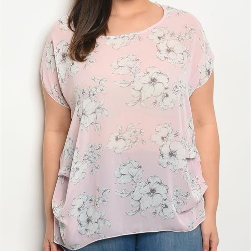 Plus Short Sleeve Floral Top