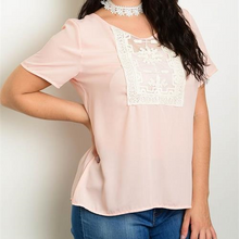 Load image into Gallery viewer, Plus Short Sleeve Crochet Front Blouse