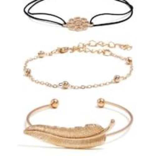 Feather & Round Bracelet Set 3pcs