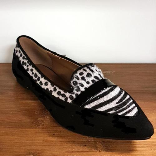 Mia Black Animal Print Flats