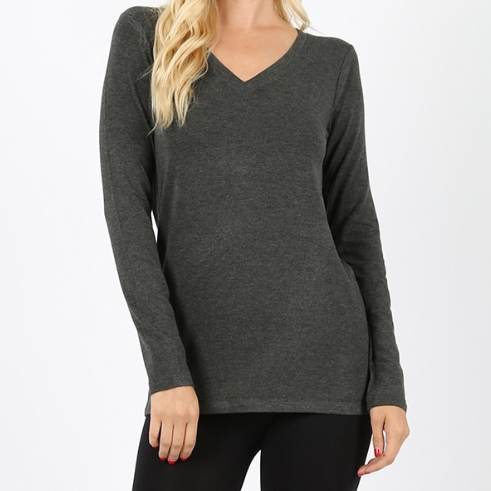Regular Rayon Long Sleeve V-Neck