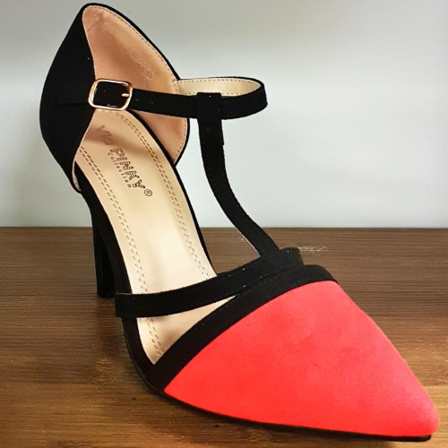 Marge Black And Red Ankle Strap Heel