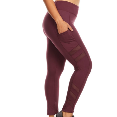 Plus Solid High Waisted Activewear Pants