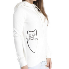 Load image into Gallery viewer, Peekaboo Cat Funnel-Neck Hoodie