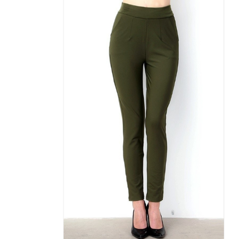 Solid Slim Leg Dress Pants