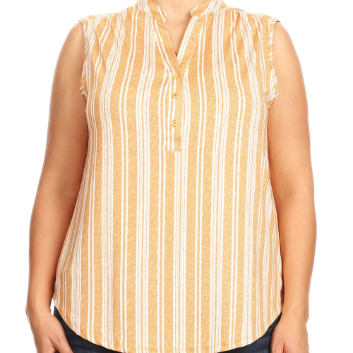 Plus V-Neck With Mandarin Collar