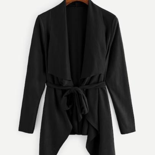 Waterfall Collar Suede Solid Coat