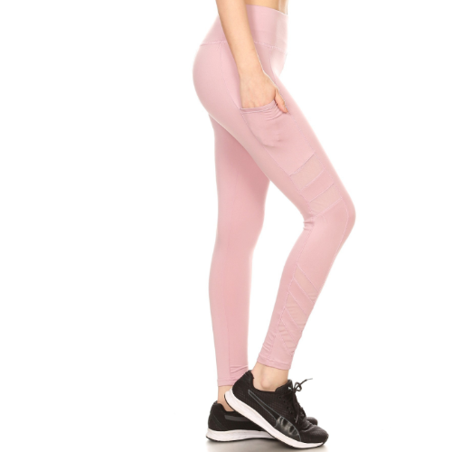 Yoga Pants Pockets Mesh Panels