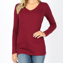 Load image into Gallery viewer, Cotton V-Neck Long Sleeve Tee