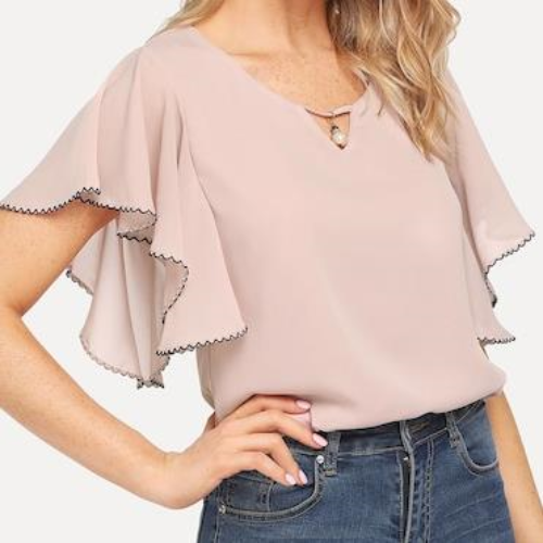 Ruffle Sleeve Pearl Detail Blouse