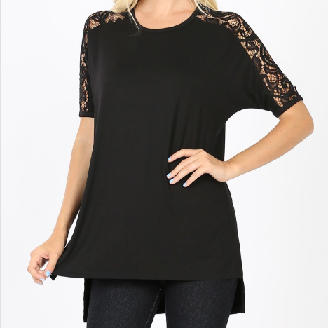 Lace Short Sleeve Round Neck With Side Slit