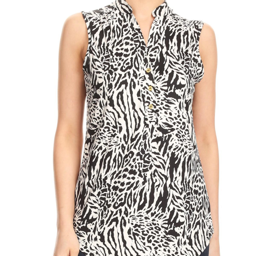 Zebra Printed Top With Button Detail