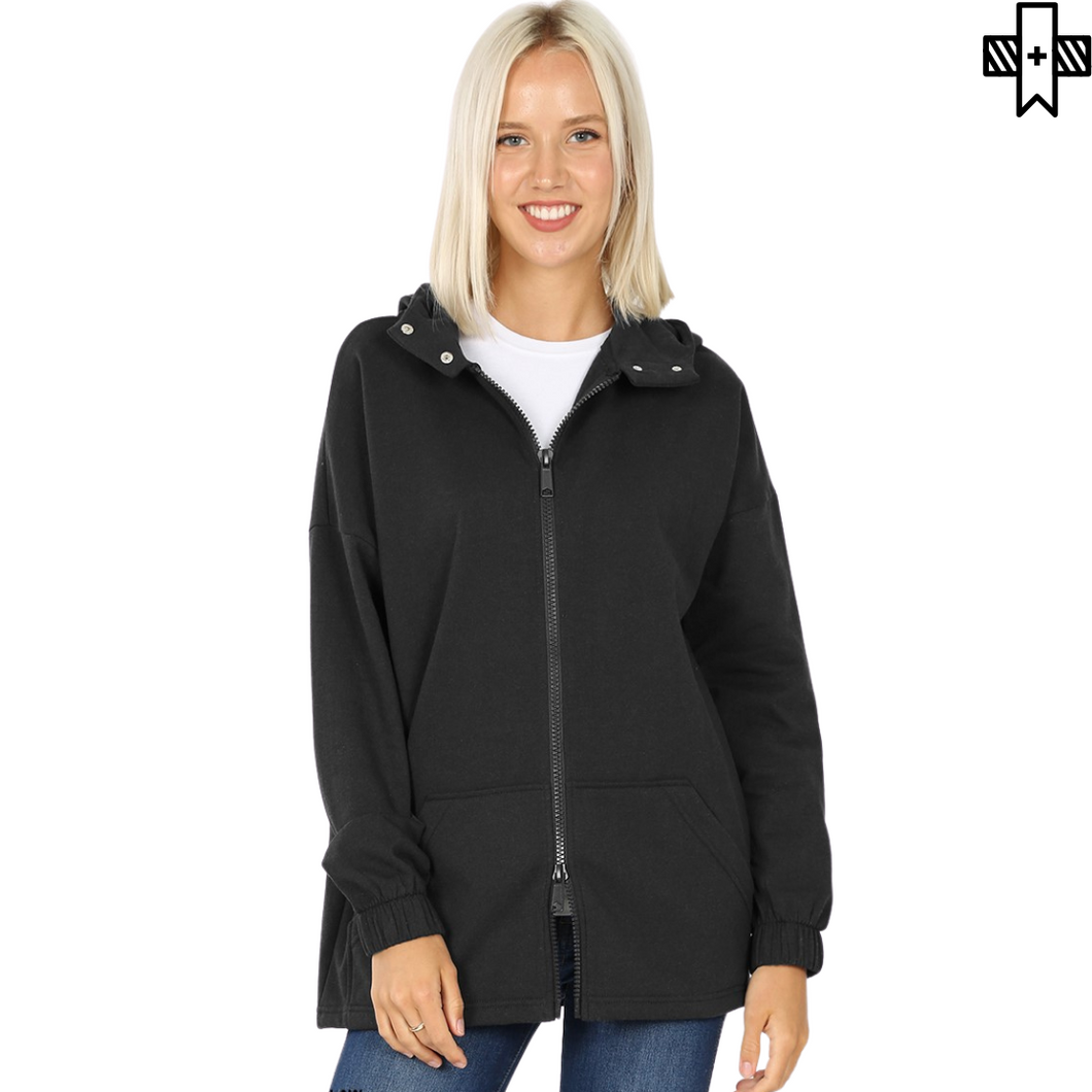Plus 2-Way Zipper Hooded Jacket