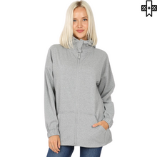 Load image into Gallery viewer, Plus 2-Way Zipper Hooded Jacket