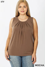 Load image into Gallery viewer, Plus Sleeveless Front Neck Pleat Top