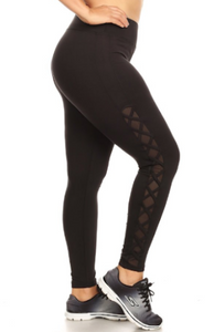 Plus Mesh Cross Leggings