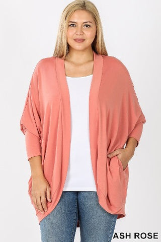 Plus 3/4 Sleeve Cocoon Wrap Cardigan
