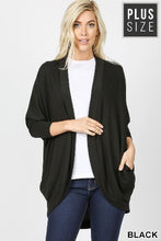 Load image into Gallery viewer, Plus 3/4 Sleeve Cocoon Wrap Cardigan