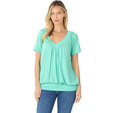 Load image into Gallery viewer, V-Neck Short Sleeve Shirring Top
