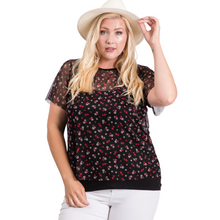 Load image into Gallery viewer, Curvy Short Sleeve Printe Mesh Top