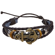 Load image into Gallery viewer, Anchor Faux Leather Bracelet