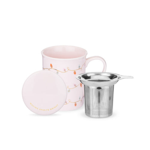 Annette Lights Pink Ceramic Tea Mug & Infuser